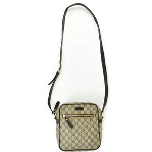GUCCI: Brown, Leather & GG Logo Crossbody Bag (tv)